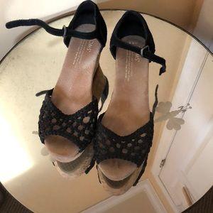 Toms Black suede wedge sandals